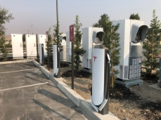 A closer look at Urban Supercharger dispensers installed next to the Supercharger hardware cabinets