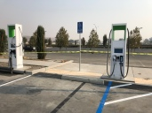 Two Electrify America charging spaces widened for handicapped van access