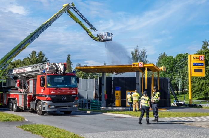 Hydrogentank eksploderte på en Uno-X-stasjon i Sandvika